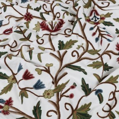 Daksum Traditional Hand Embroidered Cotton Crewel Fabric-5