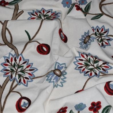 Kashmir Red Cherry Crewel Fabric-4