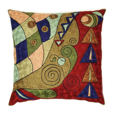 Olive Red Kashmir Hand Embroidered Cushion Cover