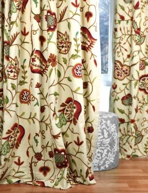 Watlab Cotton Crewel Curtain Panel Hand Embroidered Crewel Fabric