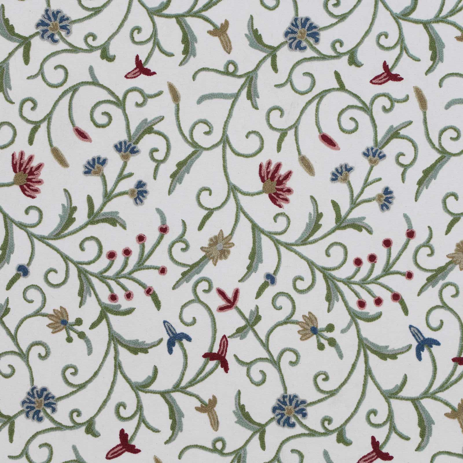 Kashmir Watlab Crewel Work Hand Embroidered Upholstery Fabric