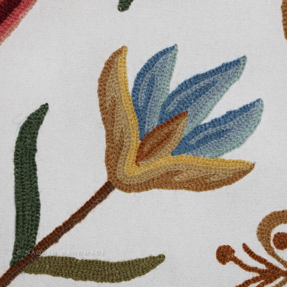 Butterfly Crewel Handmade Wool Embroidered Cotton Fabric