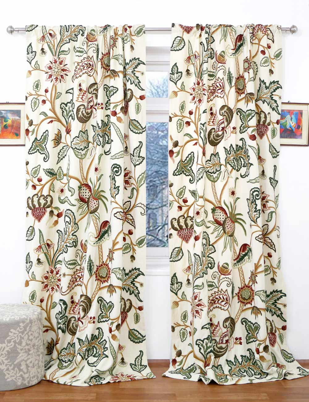 Zanskar Crewel Curtain Panels And Drapes Hand Embroidered