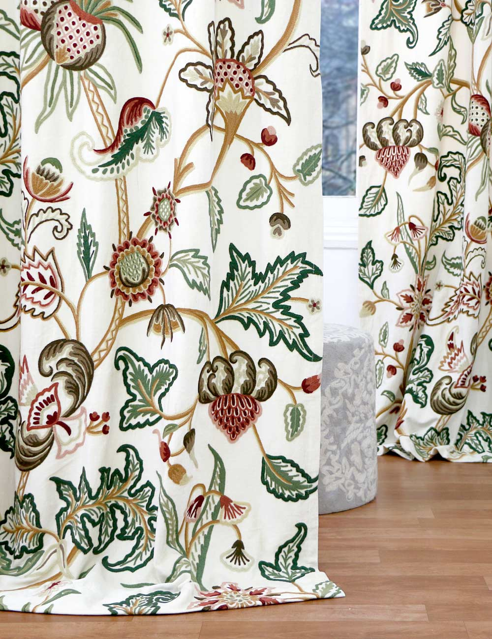 Zanskar crewel curtain panels and drapes hand embroidered