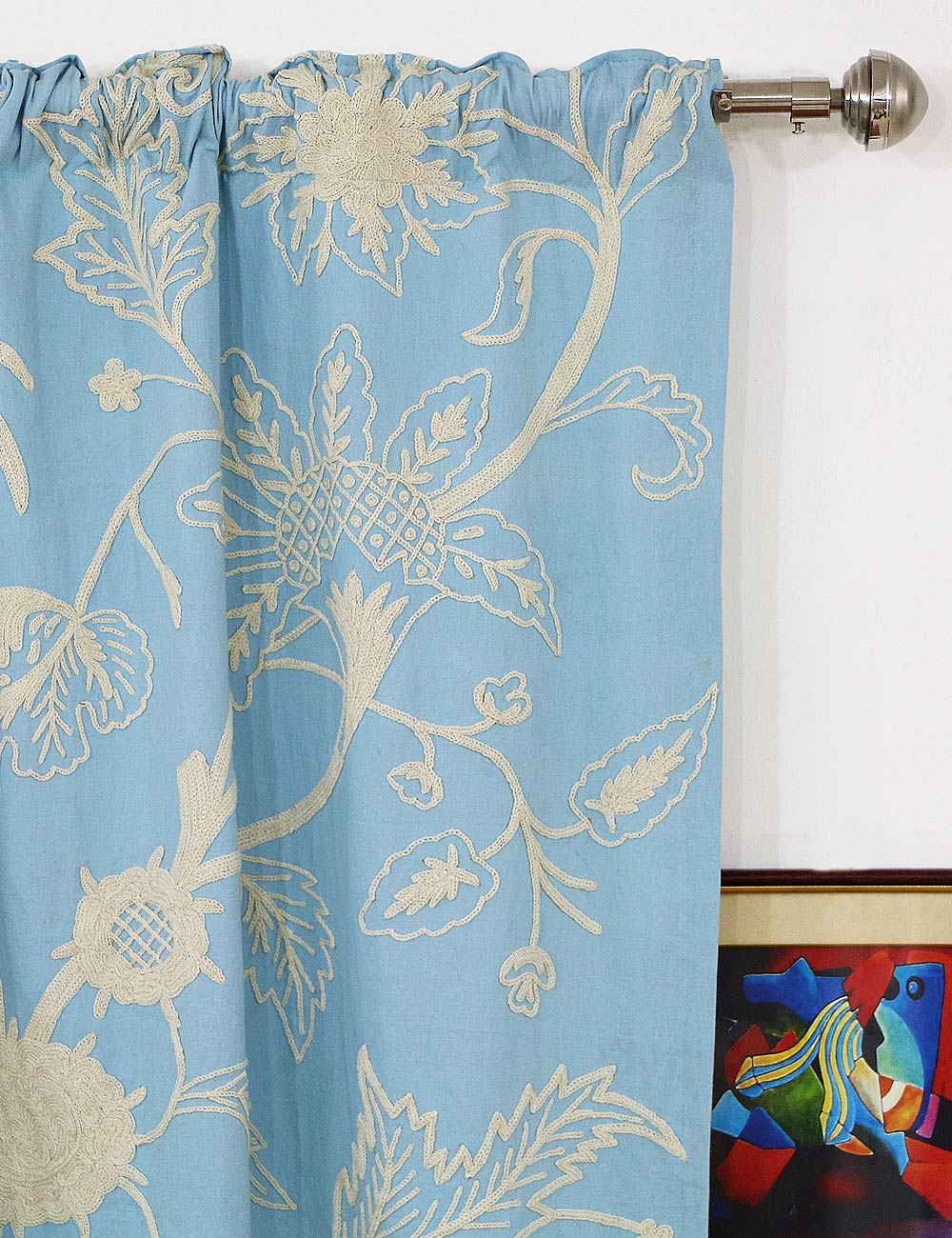 Chelsea Crewel Curtain Panels And Drapes Hand Embroidered
