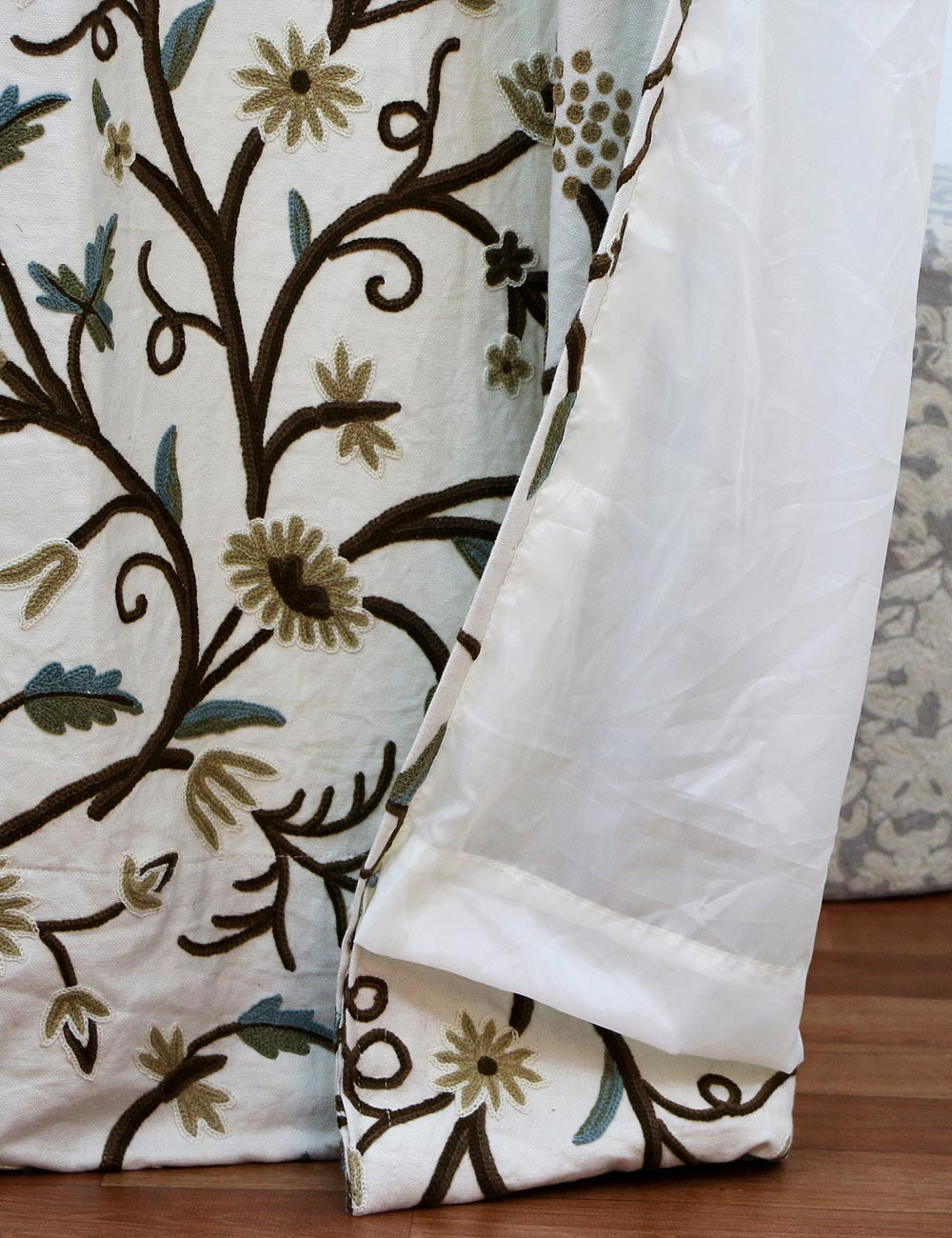 Grapes handmade crewel curtain panel wool embroidered