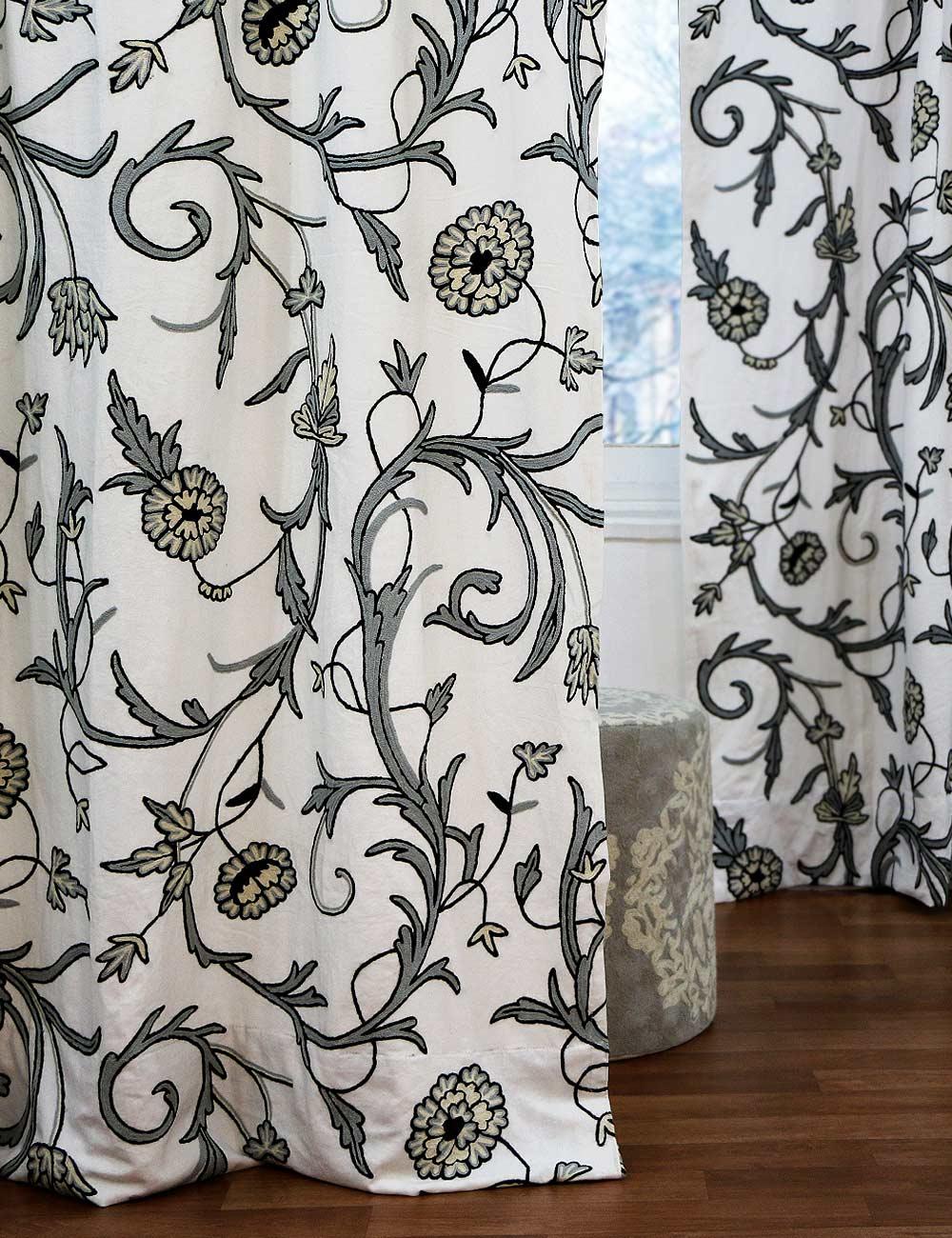 Manasbal handmade crewel curtain panel wool embroidered