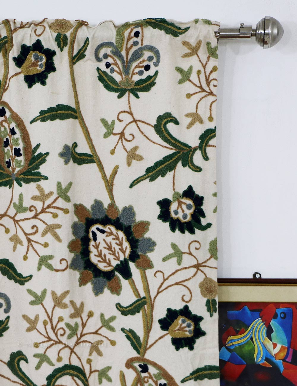 Singha Crewel Curtain Panel And Drapes Hand Embroidered
