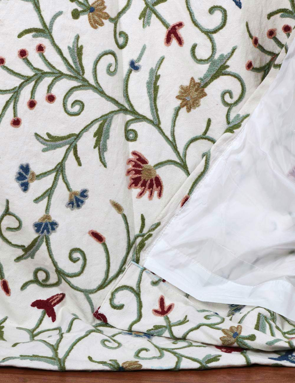 Techmal crewel curtain panels and drapes hand embroidered