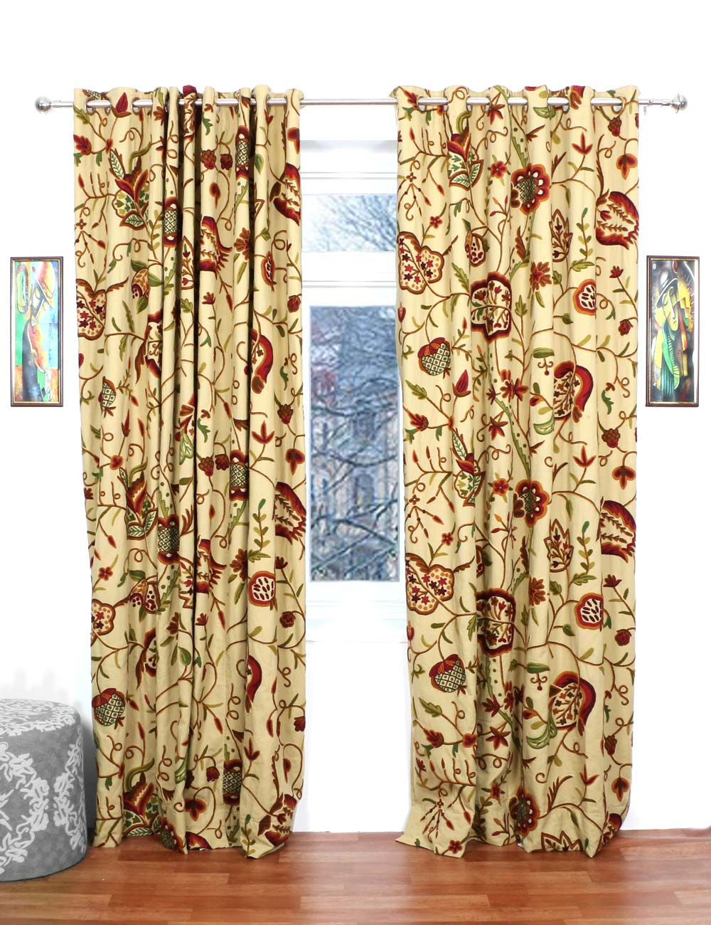 Watlab Crewel Curtain Panels And Drapes Hand Embroidered