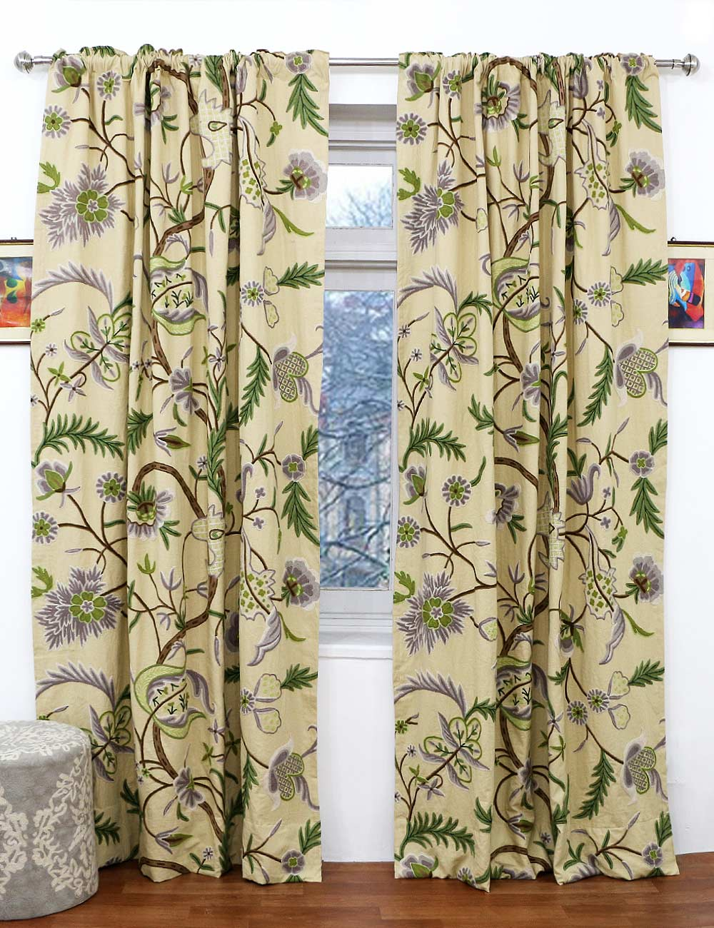 Woodmark crewel curtain panels and drapes hand embroidered