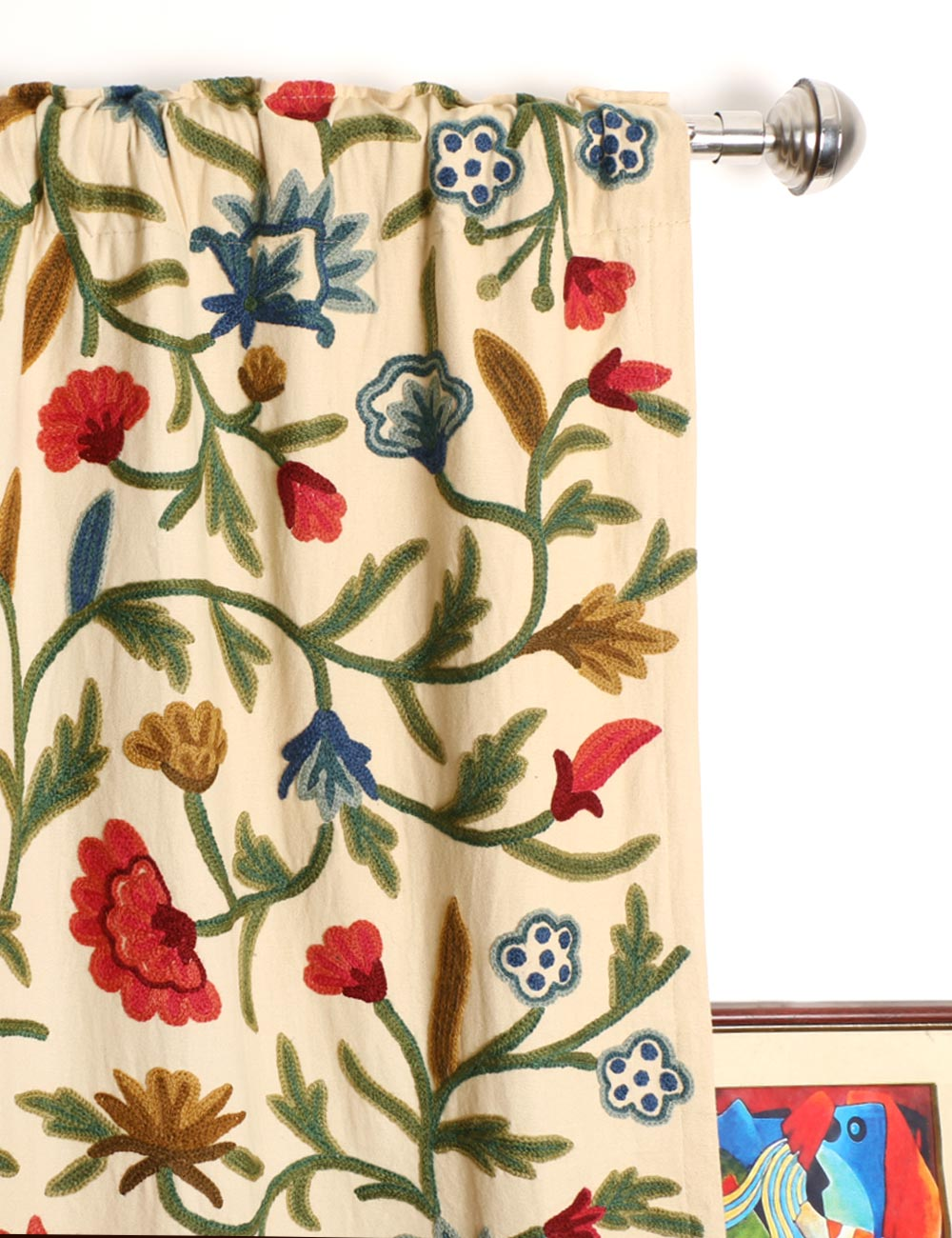 Wular crewel curtain panels and drapes hand embroidered